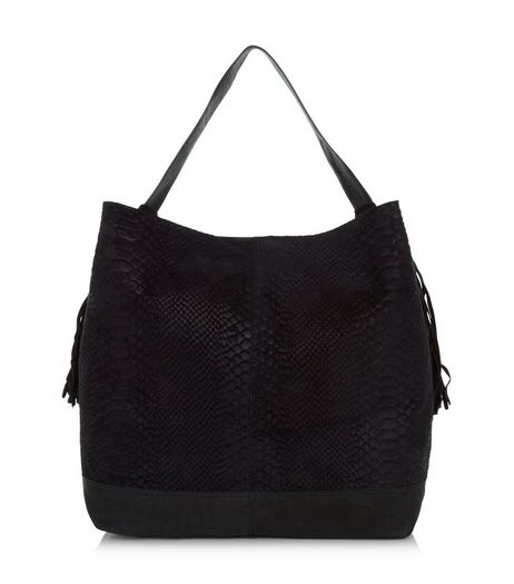 Black Premium Leather Textured Tassel Side Shoulder Bag  | New Look