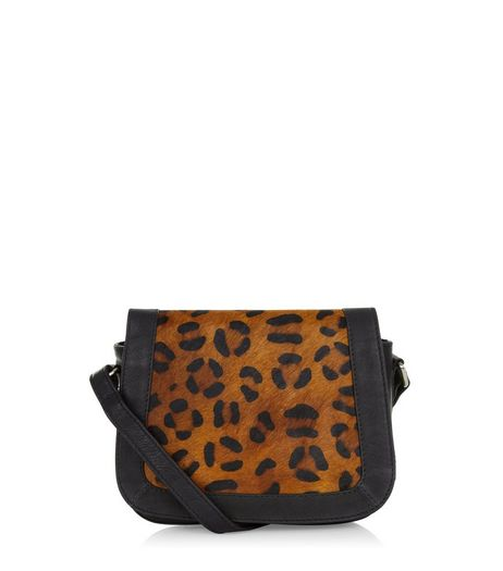 Brown Premium Leather Leopard Print Saddle Bag  | New Look