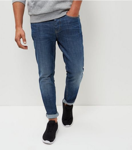 Blue Washed Crosshatch Slim Jeans  | New Look