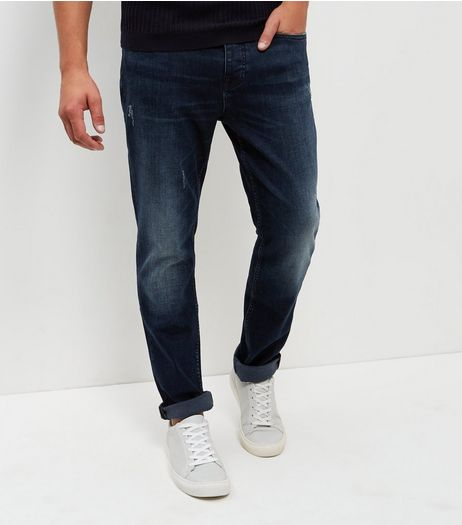 Navy Washed Slim Fit Jeans  | New Look