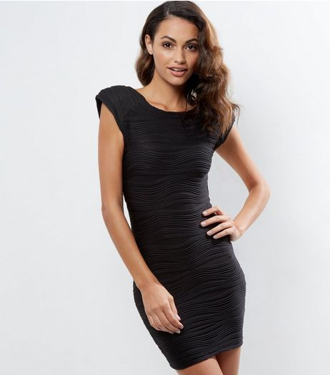 AX Paris Black Textured Bodycon Dress | New Look