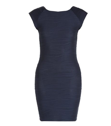 AX Paris Navy Textured Bodycon Dress | New Look