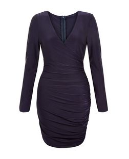 AX Paris Navy Long Sleeve Wrap Dress  | New Look
