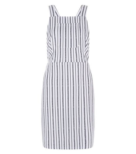 White Stripe Single Pocket Pinafore Dress  | New Look