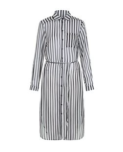 AX Paris Black Stripe Chiffon Shirt Dress | New Look