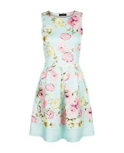 Mint Green Floral Print Pleated Skater Dress  | New Look