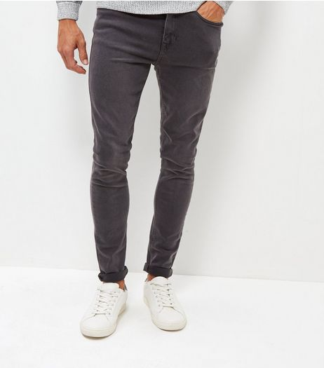 Dark Grey Washed Super Skinny Jeans | New Look