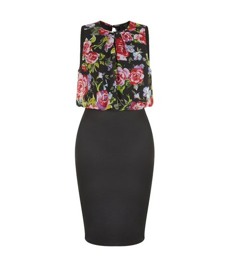 AX Paris Black Floral Print Top Midi Dress | New Look
