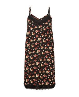 Black Ditsy Floral Print Lace Trim Slip Dress  | New Look