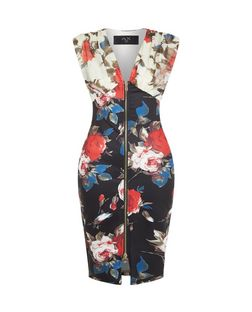 AX Paris Black Floral Print Zip Front Midi Dress | New Look
