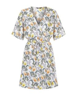Cream Floral Print Wrap Front Mini Dress | New Look