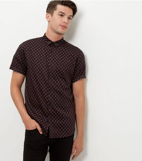 Navy Abstract Print Short Sleeve Shirt  | New Look