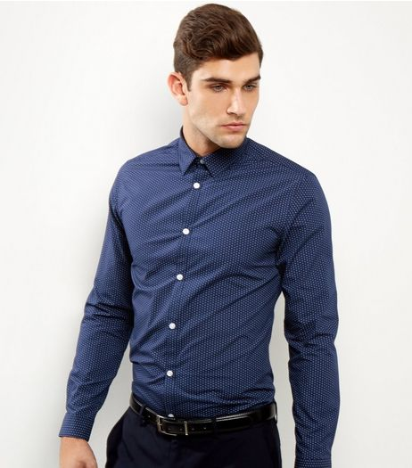 Navy Geo Print Long Sleeve Shirt | New Look