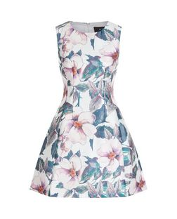 AX Paris Cream Floral Print Skater Dress | New Look