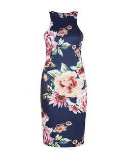AX Paris Navy Floral Print High Neck Midi Dress  | New Look