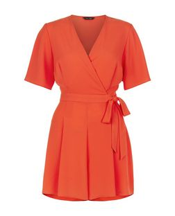 Orange Wide Sleeve Tie Waist Playsuit  | New Look