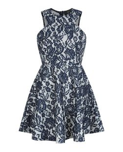 AX Paris Navy Floral Print Lace Skater Dress | New Look