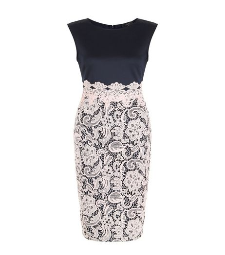 AX Paris Navy Lace Skirt Midi Dress | New Look