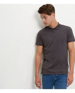 Dark Grey Washed Slub Polo Shirt | New Look