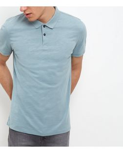 Light Green Washed Slub Polo Shirt | New Look