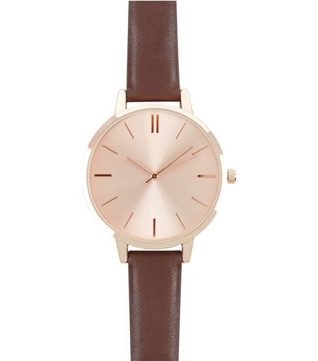 Brown Leather-Look Strap Watch | New Look