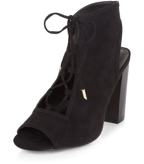 Black Suedette Peep Toe Ghillie Block Heels  | New Look