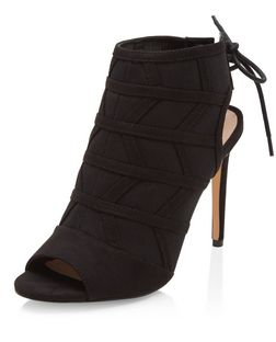 Black Zig Zag Seam Panel Tie Back Peep Toe Heels  | New Look