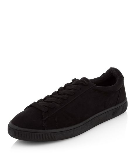 Black Suedette Trainers  | New Look