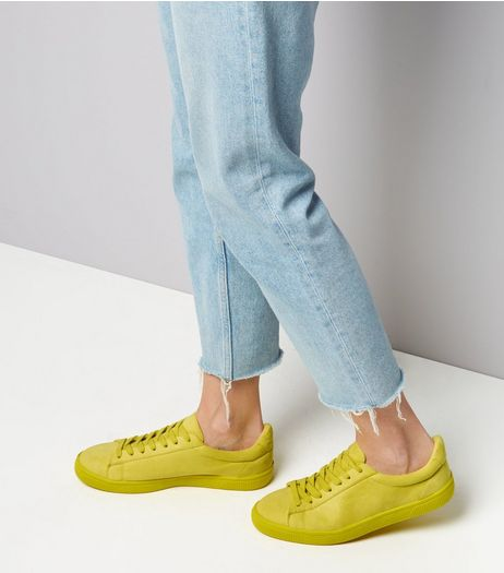 Lime Green Suedette Trainers  | New Look