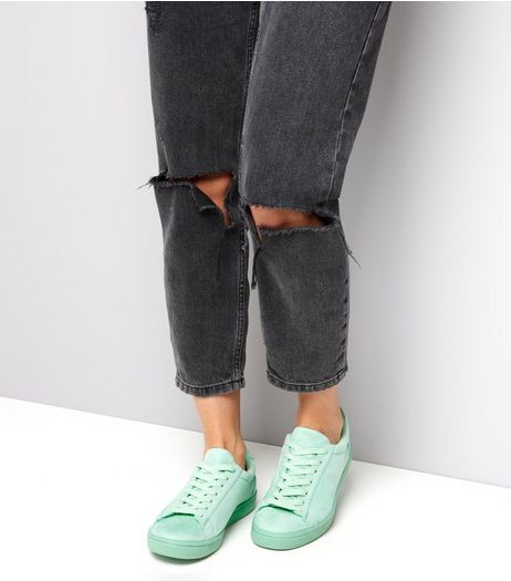 Mint Green Suedette Plimsolls  | New Look