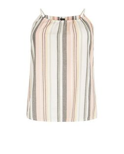 Curves Pink Stripe Rope Cami | New Look