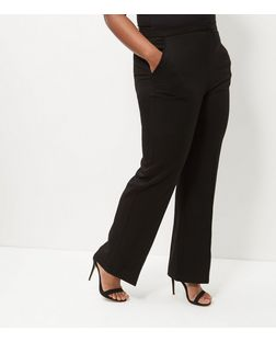 Curves Black Bistretch Wide Leg Trousers | New Look