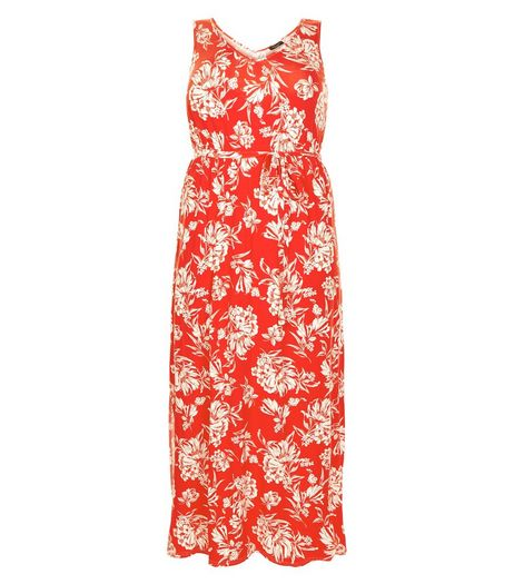 Curves Red Floral Print Maxi Dress | New Look