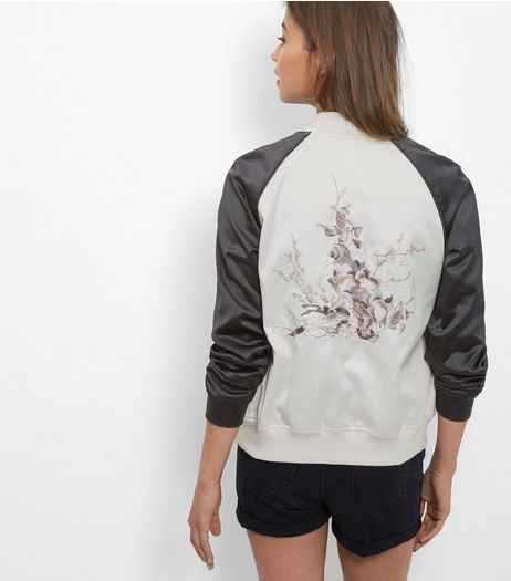 Black Embroidered Back Contrast Sleeve Bomber Jacket  | New Look