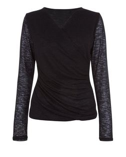 Blue Vanilla Black Wrap Long Sleeve Top | New Look