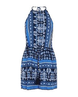 Parisian Blue Tile Print Halter Neck Playsuit | New Look