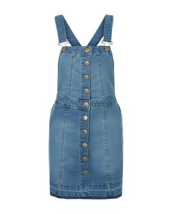 Parisian Blue Button Front Pinafore Dress | New Look