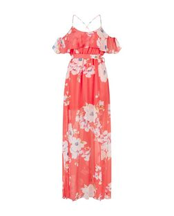 Parisian Coral Floral Print Cold Shoulder Maxi Dress | New Look