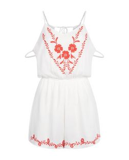 Parisian White Floral Embroidered Playsuit | New Look