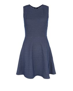 Blue Vanilla Navy Check Skater Dress | New Look