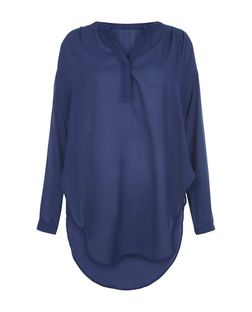 Blue Vanilla Navy Dip Hem Long Sleeve Blouse | New Look