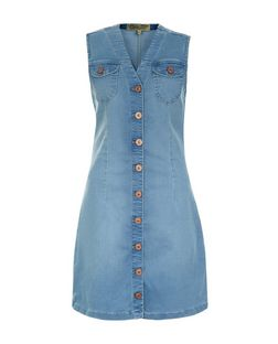 Parisian Blue Button Front Denim Dress | New Look