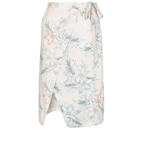 Pink Tropical Floral Print Tie Waist Wrap Front Midi Skirt  | New Look