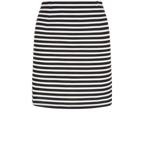 Monochrome Ribbed Stripe Mini Skirt  | New Look