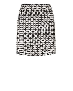 Black Tile Jacquard Double Zip Front A-Line Skirt  | New Look