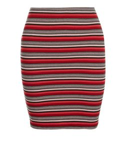 Red Ribbed Stripe Tube Skirt  | New Look