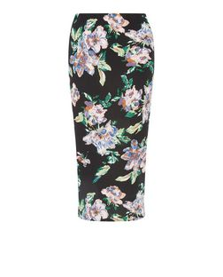 Black Floral Print Midi Skirt  | New Look