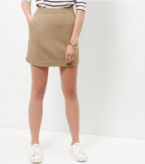 Camel Textured Skirt | New Look