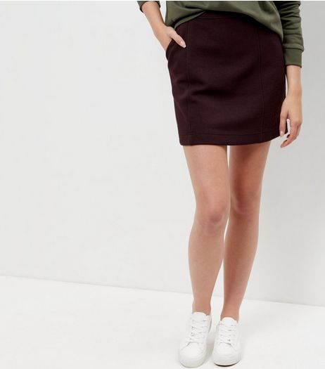Burgundy Textured Skirt | New Look