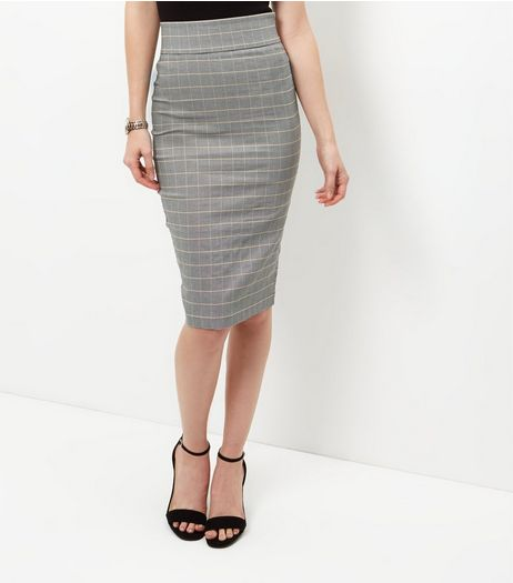 Black Check Bengaline Pencil Skirt  | New Look